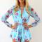 Black jump suits/rompers - blue long sleeve floral print | ustrendy