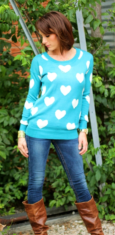 Bright Blue Heart Sweater