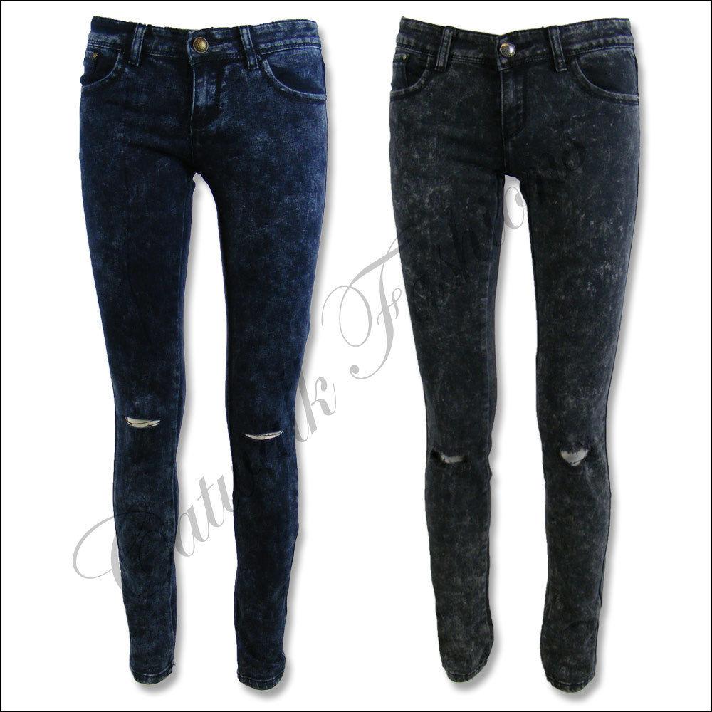 New Ladies Knee Ripped Black Blue Acid Wash Skinny Jeans Sz 6 8 10 12 14 16   eBay