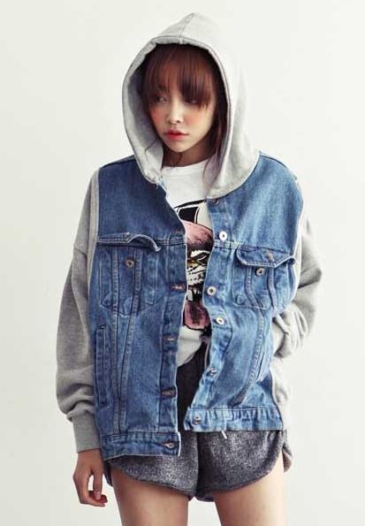Vintage 2013 Korean New Women Military Denim Varsity Jacket Hooded Patchwork Loose Baseball Sportwear Blue S L-in Basic Jackets from Apparel & Accessories on Aliexpress.com