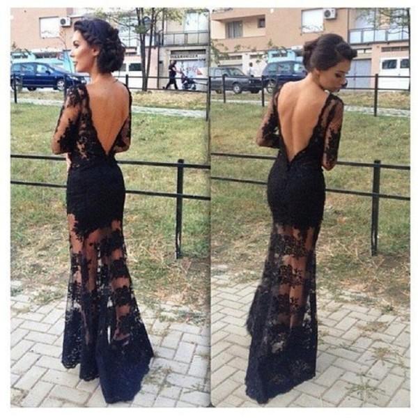 dress black lace backless elegant gorgeous prom dress