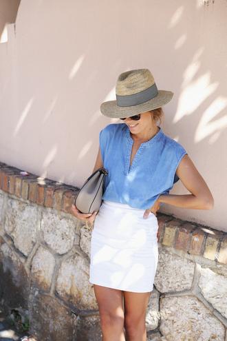 seams for a desire blogger bag sunglasses jewels denim top white skirt mini skirt mini bag grey bag date outfit