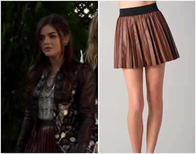 Pretty Little Liars: Season 2 Episode 23 Aria's Brown Leather Pleated Skirt | ShopYourTvShopYourTv