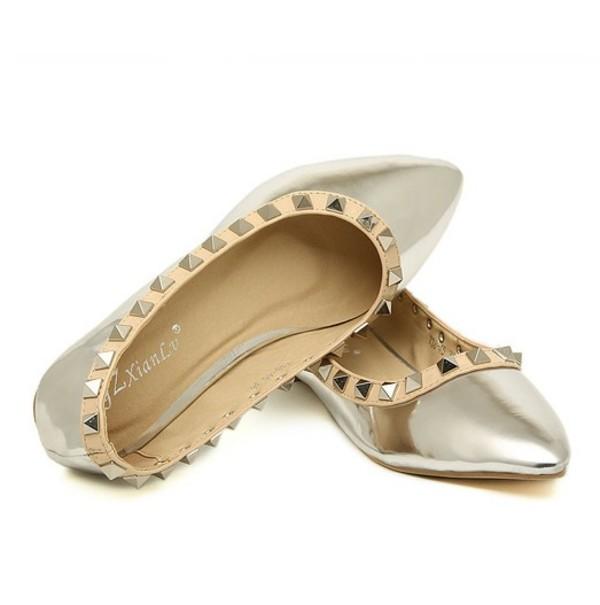 shoes flat rivet fashion women metallic purple stud