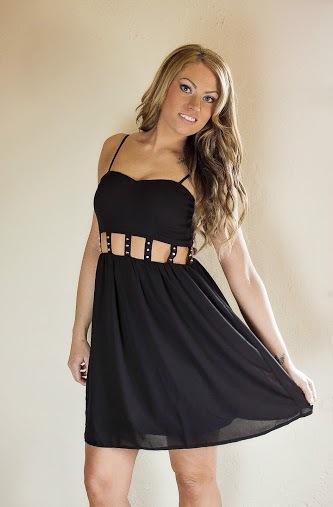 Black Little Black Dress - Black Studded Cutout Waist Sleeveless   UsTrendy