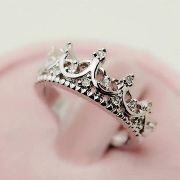 jewels crown ring sparkle crown ring silver rihnstones