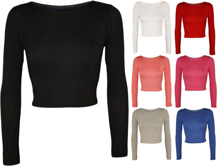 New Womens Crop Long Sleeve T Shirt Ladies Short Plain Round Neck Top 8 - 14   eBay
