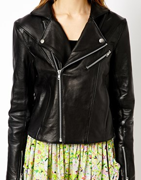Y.A.S | Y.A.S Clean Biker Jacket in Leather at ASOS