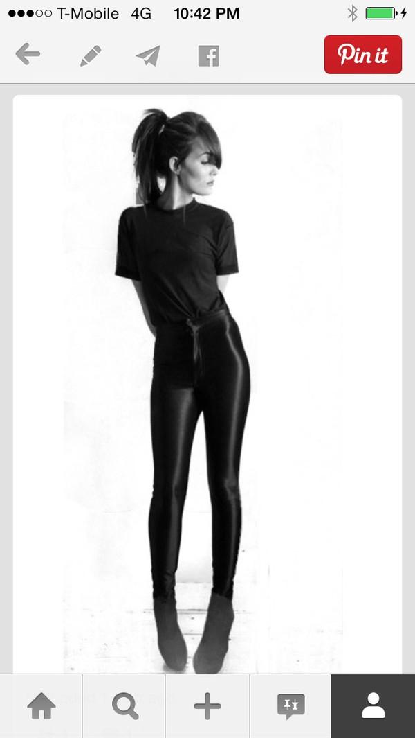 leggings black shiny high waisted pants high waisted leggings zip motorcycle