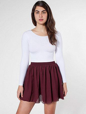 Chiffon Double-Layered Shirred Waist Skirt | American Apparel