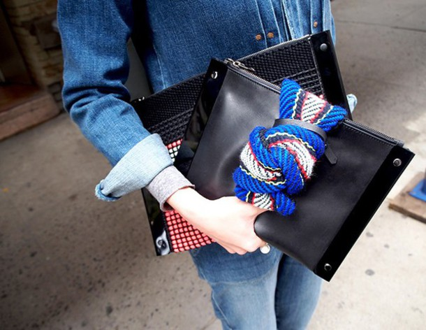bag clutch royal blue leather overalls