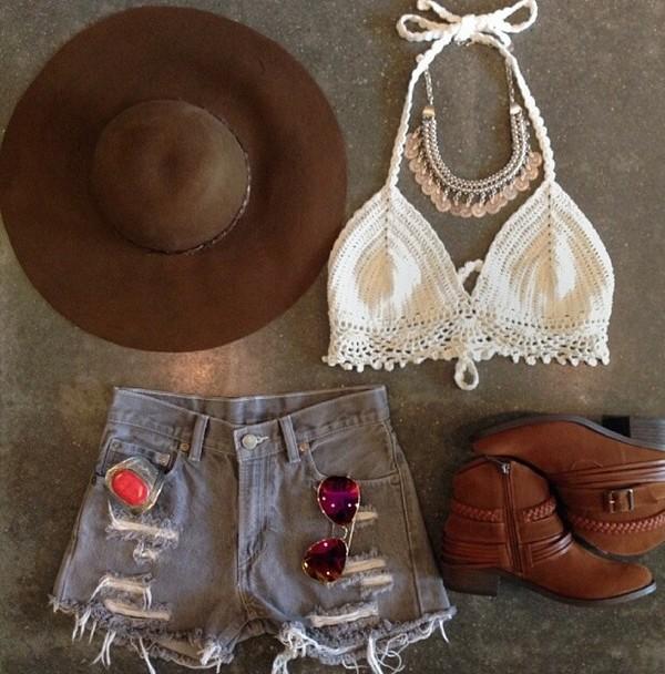 shirt hat shorts shoes jewels tank top white top crochet crop top