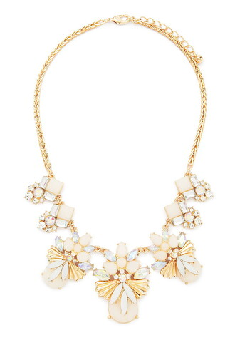 jewels faux gem gems gemstone crystal statement necklace bib necklace gold forever 21 statement necklace iridescent rhinestones resin acrylic floral fan insect pendant pendant angel flowers flower motif
