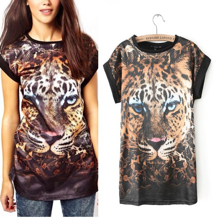 Free shipping!2014 New fashion womens ladies animal tiger print tops T Shirt short sleeves S M L cool tees -in T-Shirts from Apparel & Accessories on Aliexpress.com