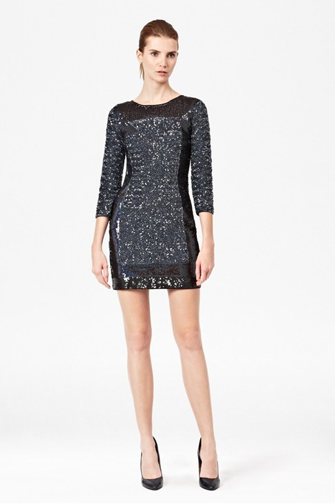 Sequin Striped Tunic Dress - Dresses - French Connection Usa