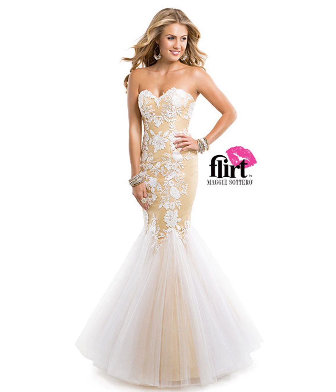 Flirt by Maggie Sottero 2014 Prom Dresses - White & Gold Lace & Tulle Mermaid Prom Gown - Unique Vintage - Prom dresses, retro dresses, retro swimsuits.