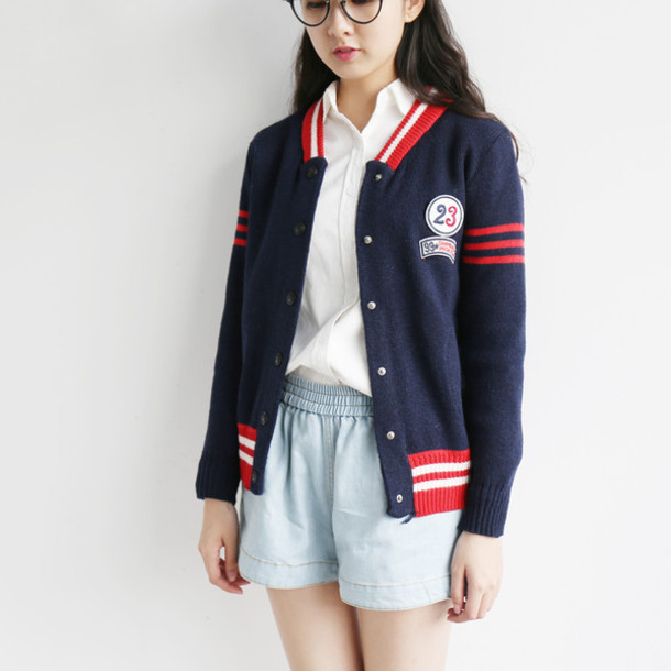 Jacket Baseball Fall Outfits Winter Outfits Casual Cute Blue Red Fashion Style Cardigan Vest Knitwear Asian Fashion Cute Outfits Clothes Teenagers College Korean Style Wheretoget