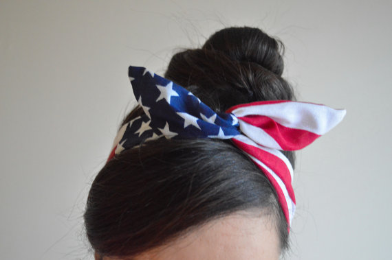 Patriotic Dolly bow American Flag head band hair bow by JLeeJewels