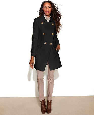 DKNY Double-Breasted Wool-Blend Cutaway-Hem Coat - Coats - Women - Macy's