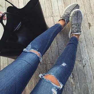 shoes sneakers jeans ripped jeans skinny jeans knee ripped jeans kanye west yeezy yeezy 350 boost grey sneakers adidas low top sneakers