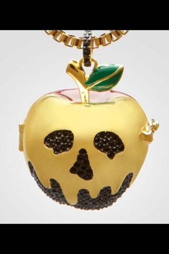 jewels apple skull skull necklace golden skull golden apple black apple disney snow white snow white's poisoned bite