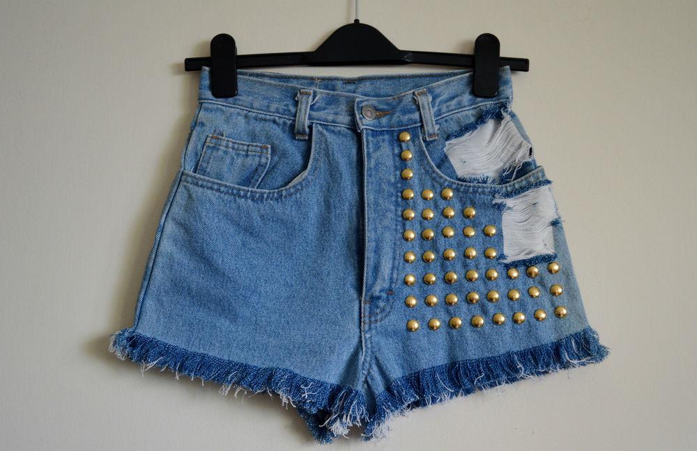 90's Grunge Hipster high waist Destroyed denim shorts Studded Size 6/8/12 | eBay