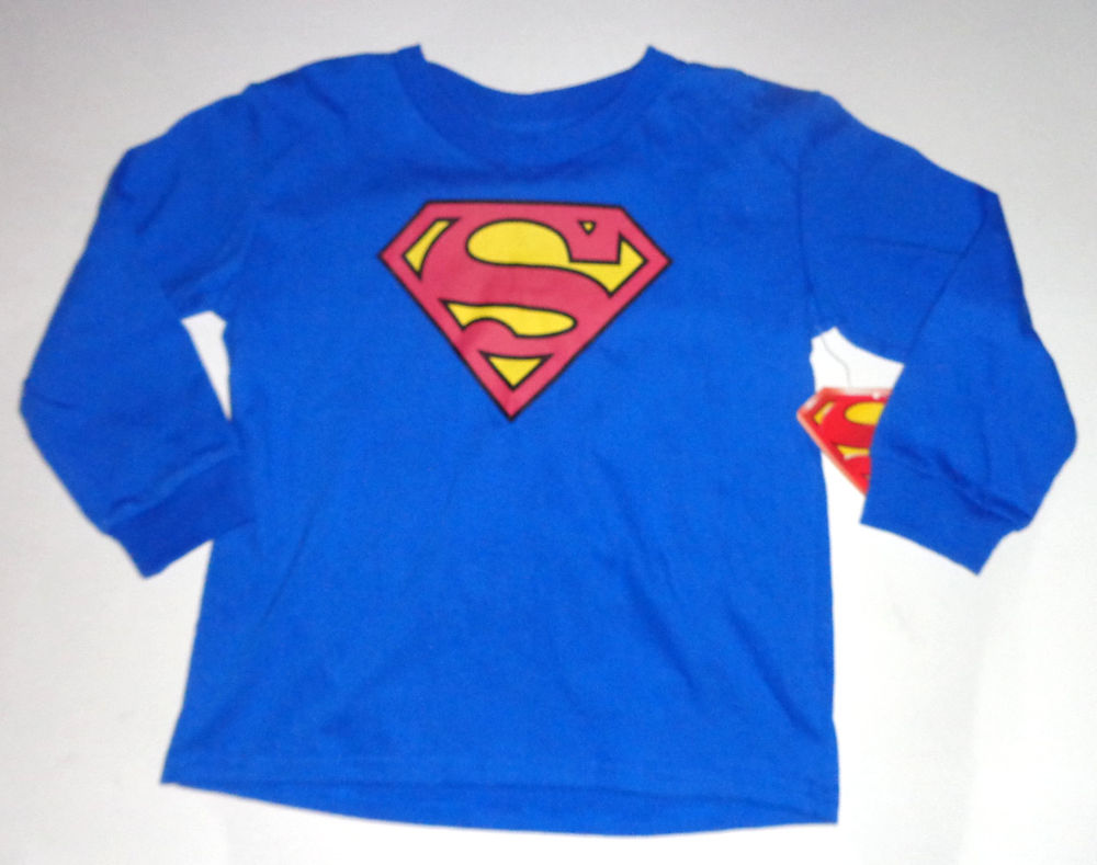 Superman Toddler Boy Long Sleeve Shirt Yellow Red Logo Size 2T 3T and 5T | eBay