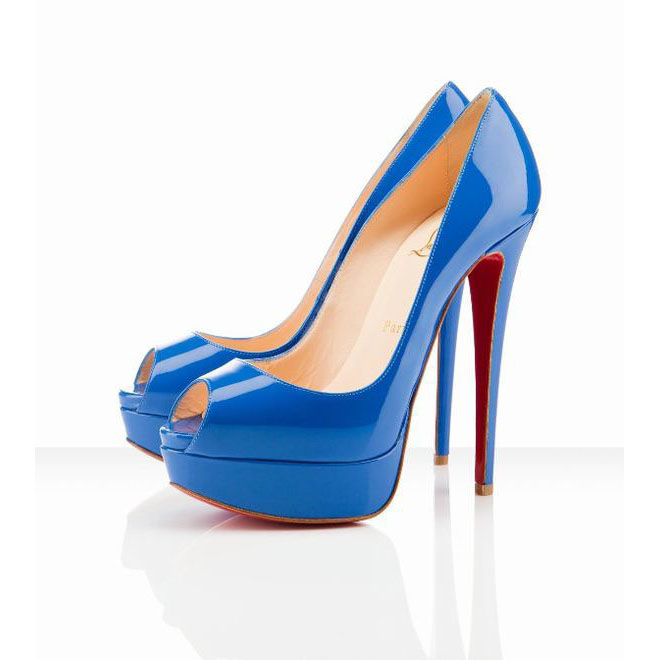 lady peep louboutin 150 platform peep toe pumps blue
