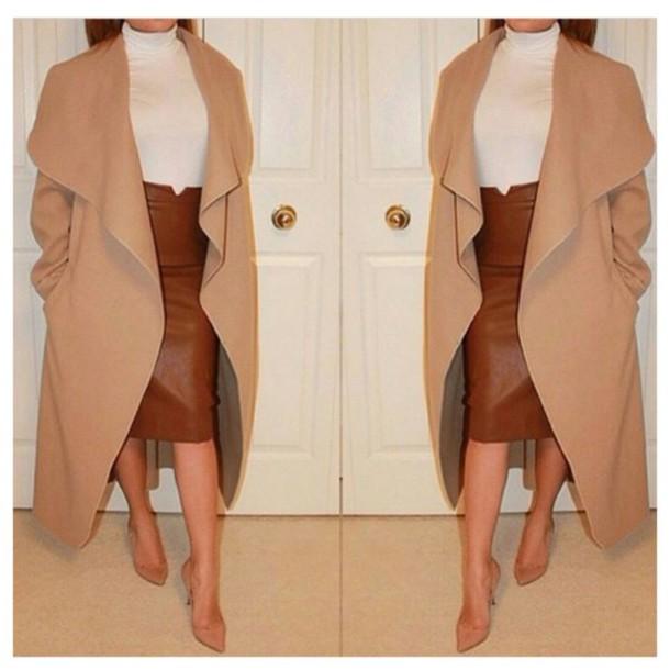 coat camel & grey