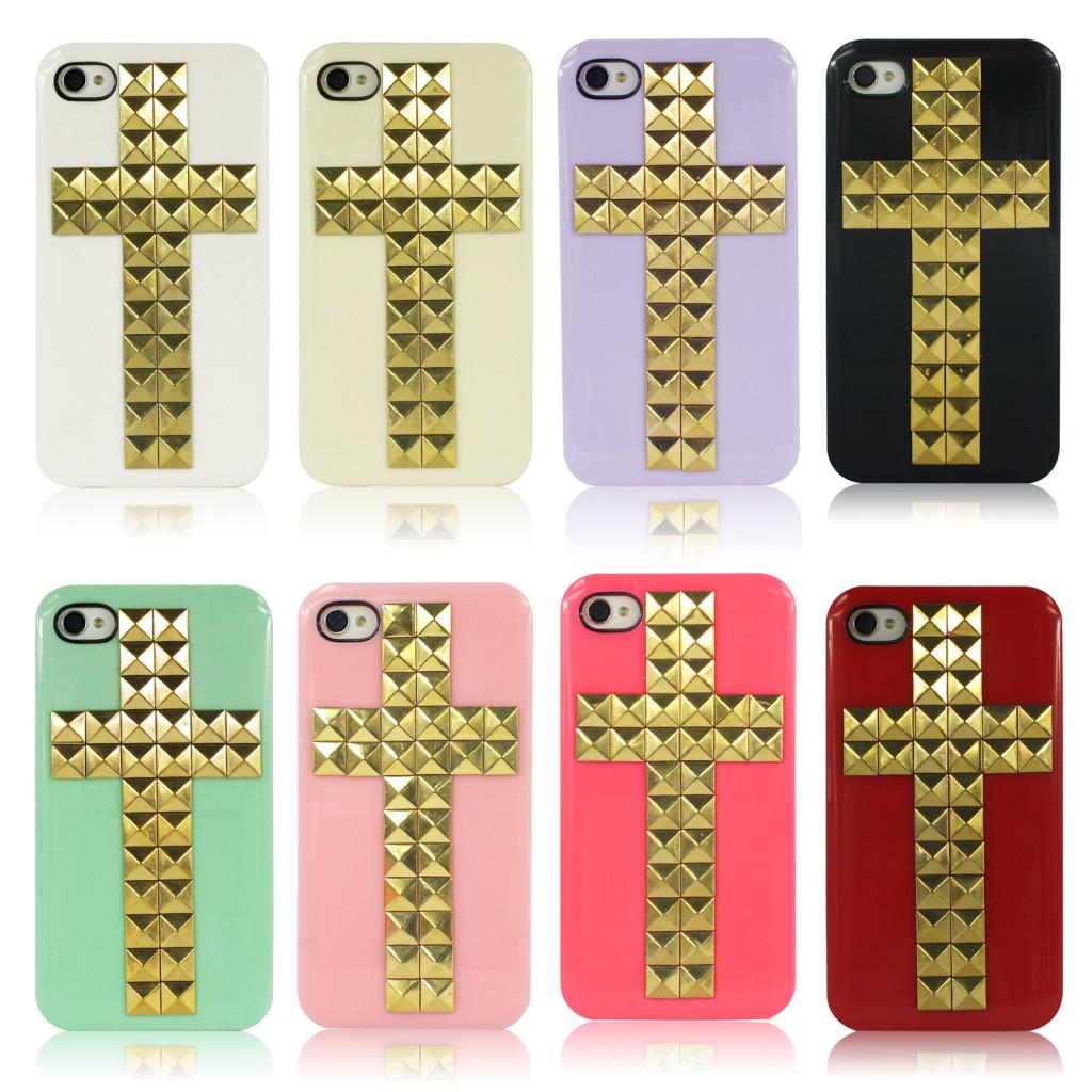 HOT Golden Rivets Stud Cross Handmade Hard Back Cover Case For iPhone 4 4S - UK | eBay