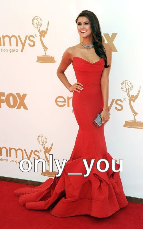 Nina Dobrev Red Dresses On Emmys 2011 Red Carpet Strapless Mermaid Evening Prom Gown Celebrity Dresses Exquisite Hot Sale-in Celebrity-Inspired Dresses from Apparel & Accessories on Aliexpress.com