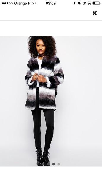 coat black fur coat fur jacket white clothes winter coat