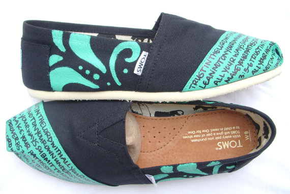 The Betty  Teal and Black Custom TOMS by FruitfulFeet on Etsy