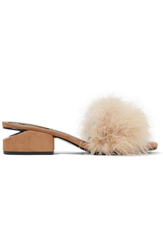tan embellished mules suede shoes