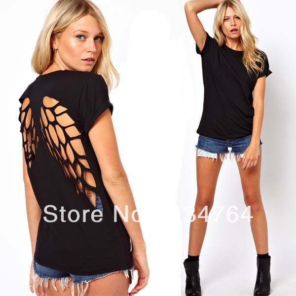 Nouvelle mode des ailes d'ange 2013 dos creux en coton à manches courtes t  shirt pour femmes hauts noir