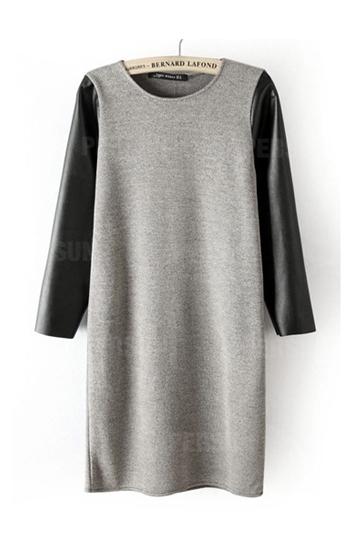 Cotton Stitching PU Leather Dress [FXBI00342] - PersunMall.com