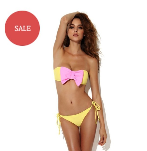 swimwear yellow bow bikini bow pink strapless fashion style summer beach hot boogzel girl girly girly wishlist bikini bikini top bikini bottoms two-piece swimwear two piece