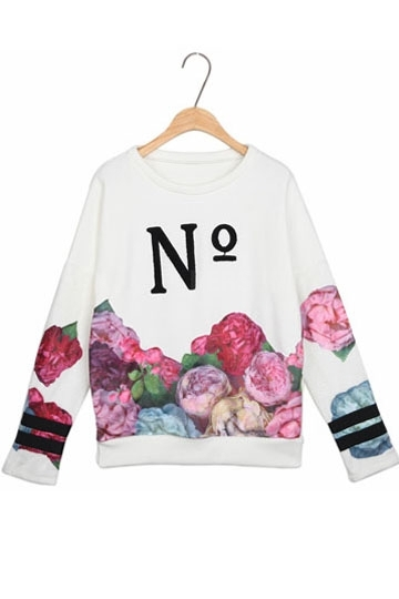 Fancy Flower Letter Print Pullover In White [FOBK00182] - PersunMall.com