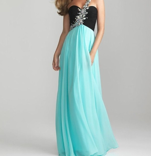 dress black blue turqouise aqua prom bridesmaid jewels