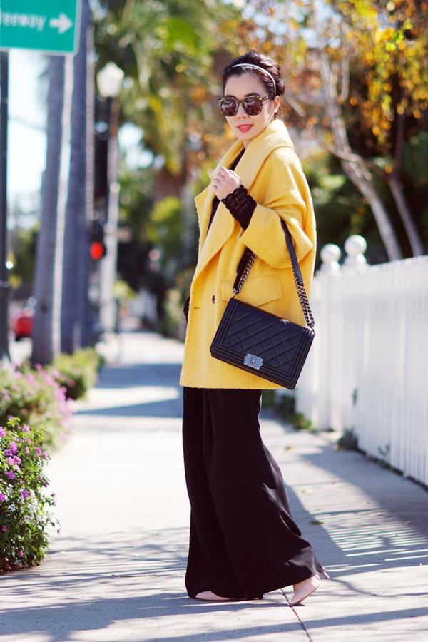 hallie daily coat pants bag sunglasses t-shirt