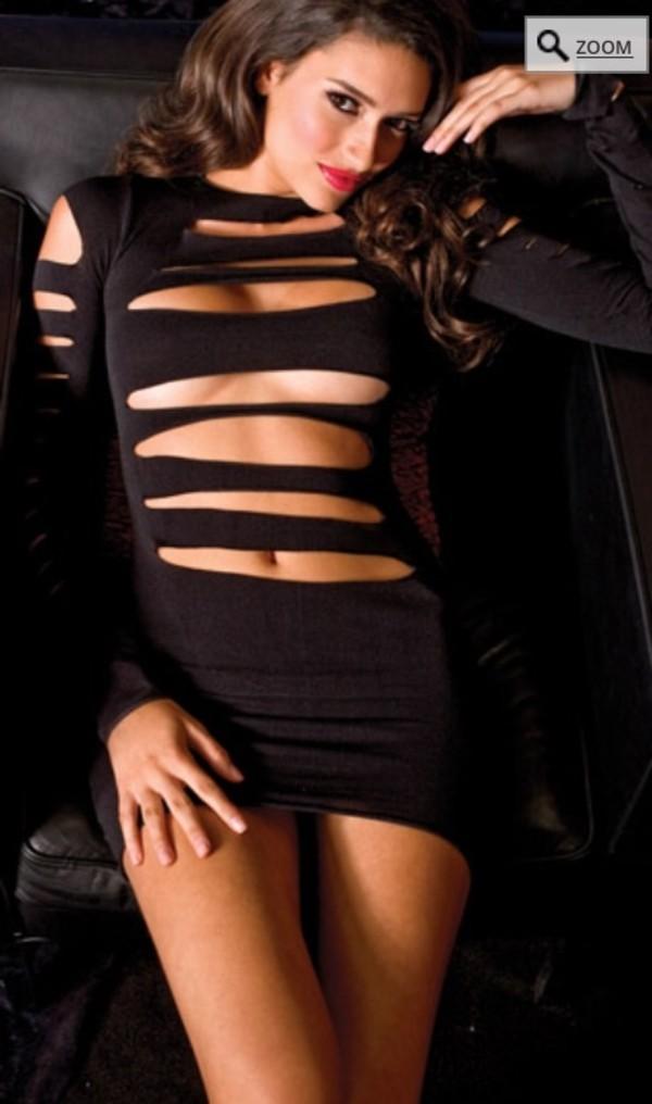 dress black little black dress sexy cute dress shorts boobs long sleeve dress