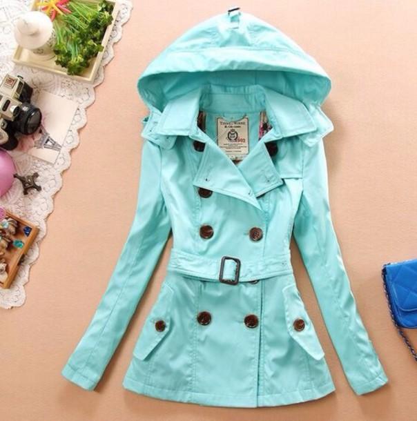 coat tiffany blue raincoat turquoise trench coat