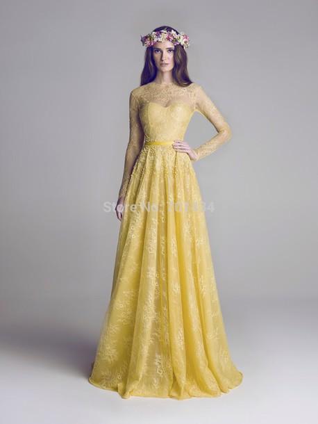 dress yellow lace