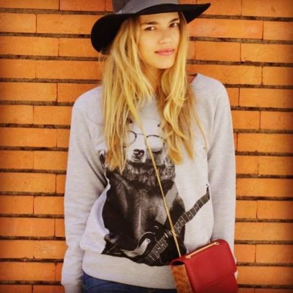 sweater bear sweatshirt sweater eco friendly eco-friendly printed sweater
