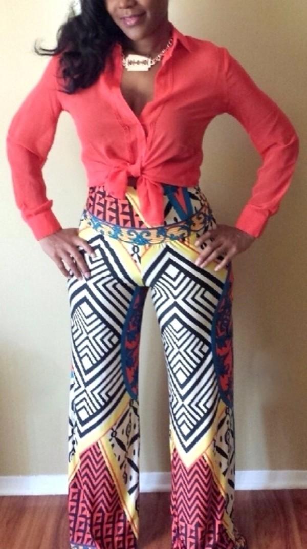 pants hippie palazzo pants multi color wide leg pant
