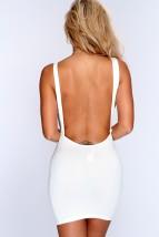 Ivory Backless Sleeveless Bodycon Party Dress