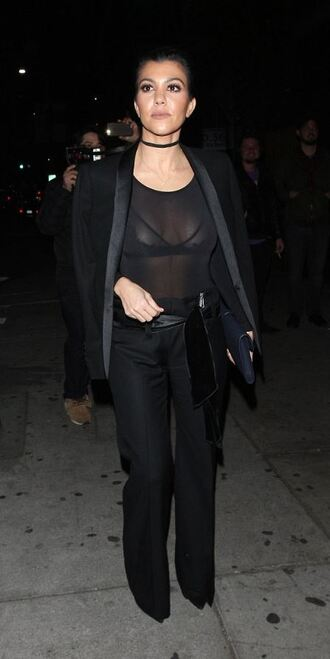 see through all black everything pumps jacket blazer bra lace bra kourtney kardashian fall outfits bodysuit jewels jewelry necklace choker necklace black choker kardashians keeping up with the kardashians celebrity style celebrity ysl black pants