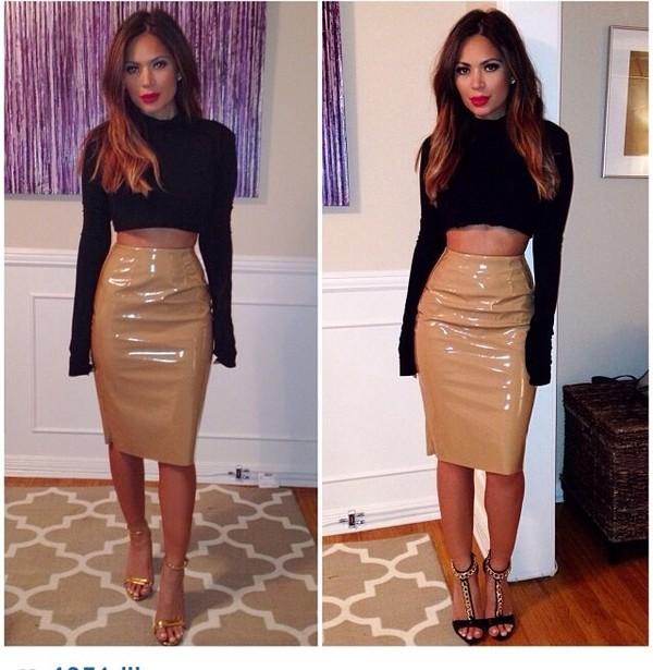 skirt patent leather skirt beige long marianna hewitt