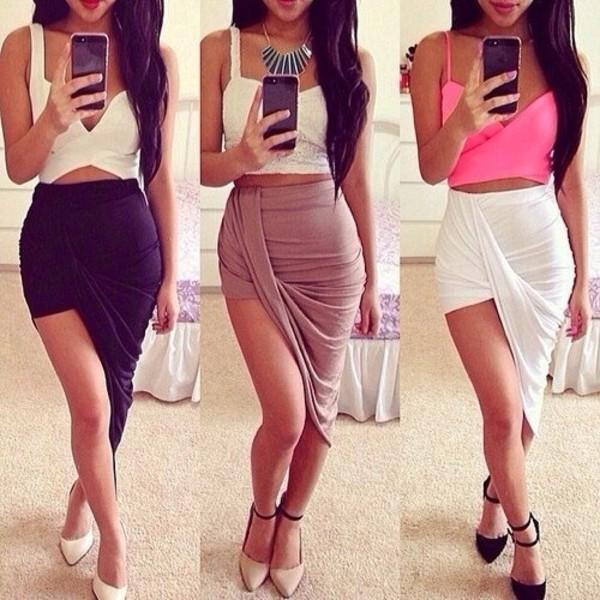 skirt long skirt sexy asymmetrical skirt pink offset dress long