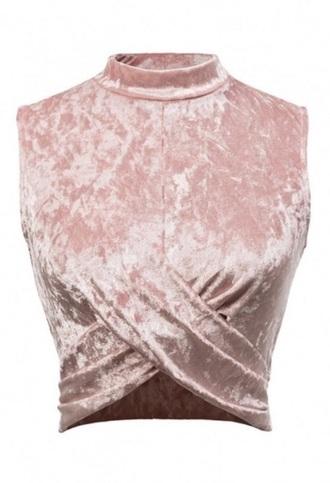 blouse girly pink crop tops crop velvet